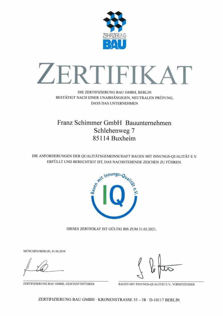 Zertifikat Zertifizierung Bau