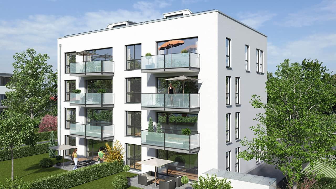 Mehrstöckiges Wohngebäude mit Balkonen